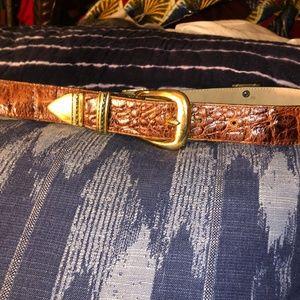 leatherock brown croc leather gold belt ASNEW M